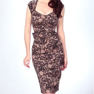 Stop Staring Love Lace Retro Pin Up Dress L